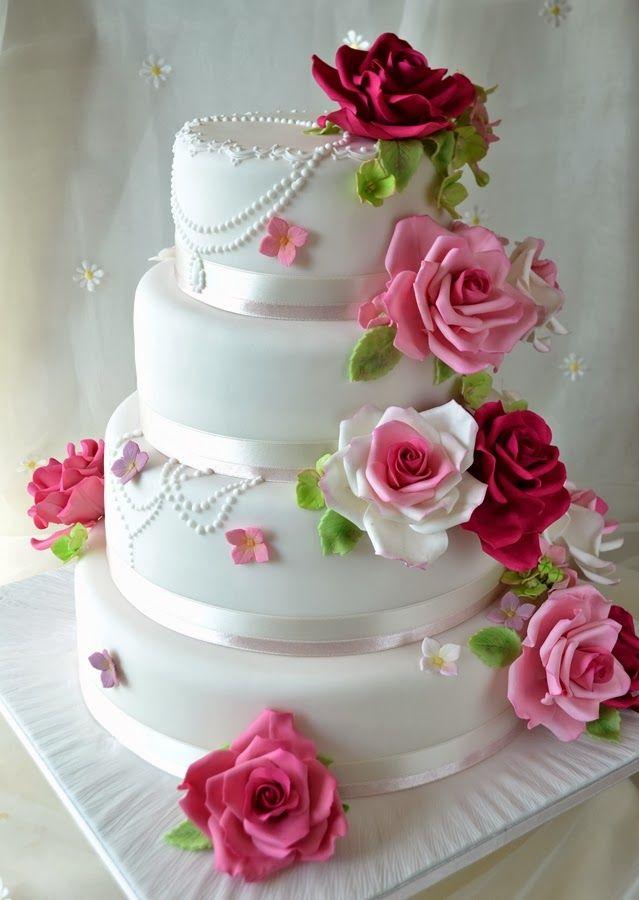 Deborah Hwang Cakes: Summer garden rose wedding cakes