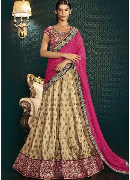Beige Pink Embroidered Bhagalpuri Lehenga Choli
