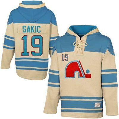 Old Time Hockey Joe Sakic Quebec Nordiques Sawyer Alumni Player Hoodie - Stone