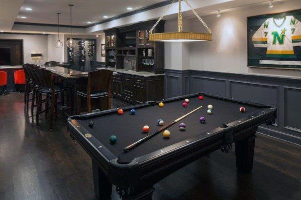 Top 70 Best Finished Basement Ideas Renovated Downstairs Designs Black Pool Table Basement Wainscoting Pool Table Room