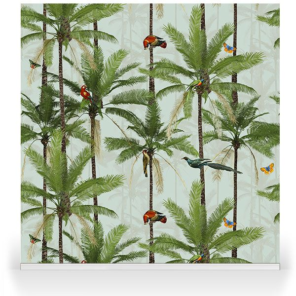 """""""Crazy Palms Tropical Birds"""". A brand new range by our Senior Designer, Franco Moz. It encapsulates the strong botanical atmosphere of a summer paradise -and as a wallpaper or stretched canvas- is able to truly bring the outdoors into your modern day home decor."""