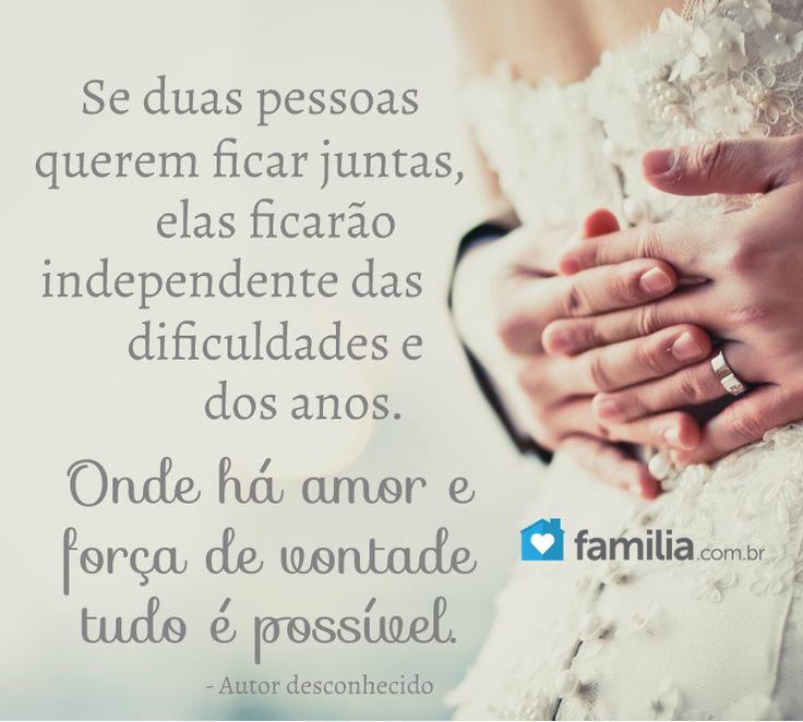 Se duas pessoas querem ficar juntas, elas ficarão independente das dificuldades e dos anos. Onde há amor e força de vontade tudo é possível.