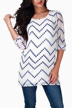 White Blue Chevron Print Chiffon Maternity Tunic| Pink blush maternity