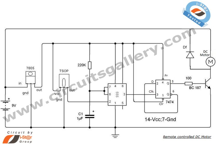Remote Controlled DC Motor for Toy Car Circuit Diagram
