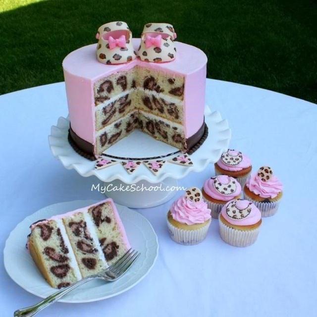 love it.: Cakes Batter, Polka Dots, Leopards Prints Cakes, Leopards Cakes, Shower Cakes, Rainbows Cakes, Animal Prints, Baby Shower