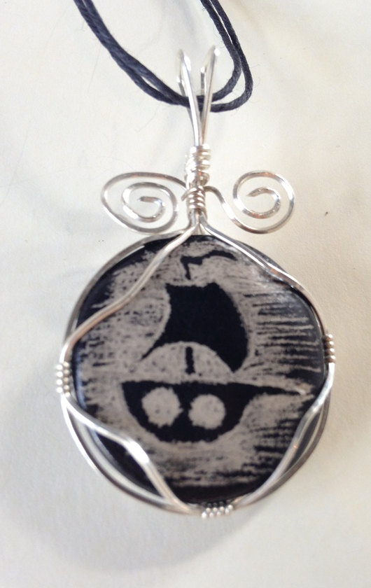 Nautical Necklace Pendant by JoleneMackieArt on Etsy, $25.00