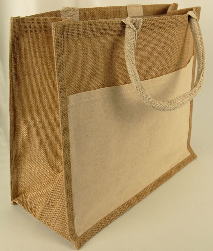 Burlap tote bag with sleeve pocket 15 x 13 burlap tote for Decorative burlap bags