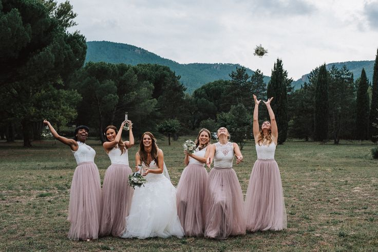 Bridesmaids in Tulle Little Mistress Skirts & Topshop Tops | Bridesmaid Separates - Fern Edwards Photography | Pronovias Wedding Dress | Britten Isabella Cathedral Length Veil | Outdoor Rustic French Chateau Wedding | Tulle Skirt Bridesmaid Separates