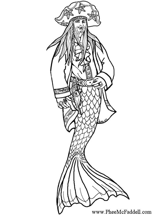 free pirate mermaid coloring pages - photo#32
