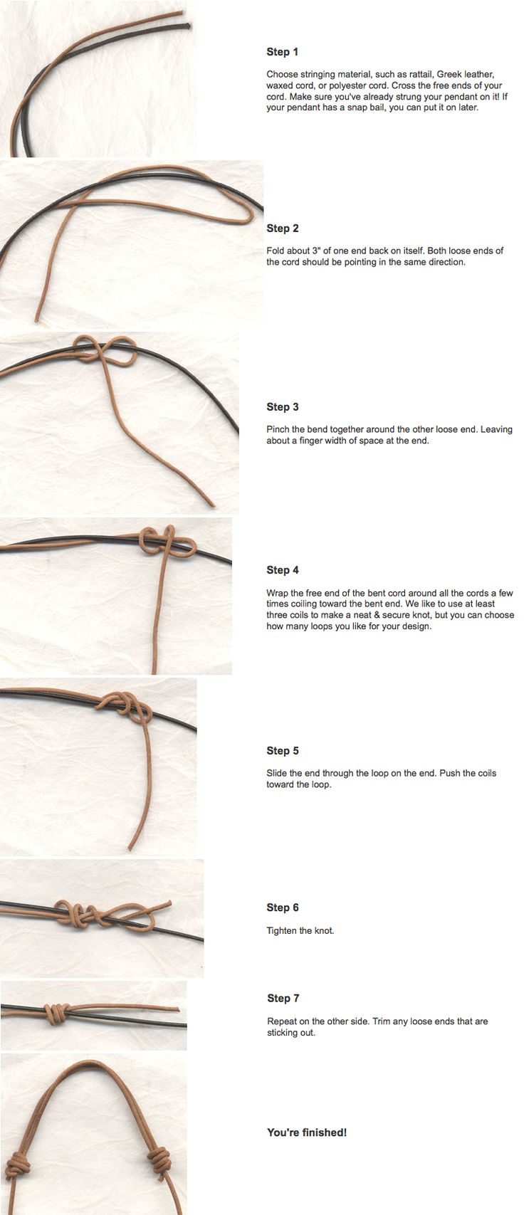 A Sliding Knot. Use for jewelry - have a piece that I need to redo so I found these instructions: ) Pinterest is AWESOME!