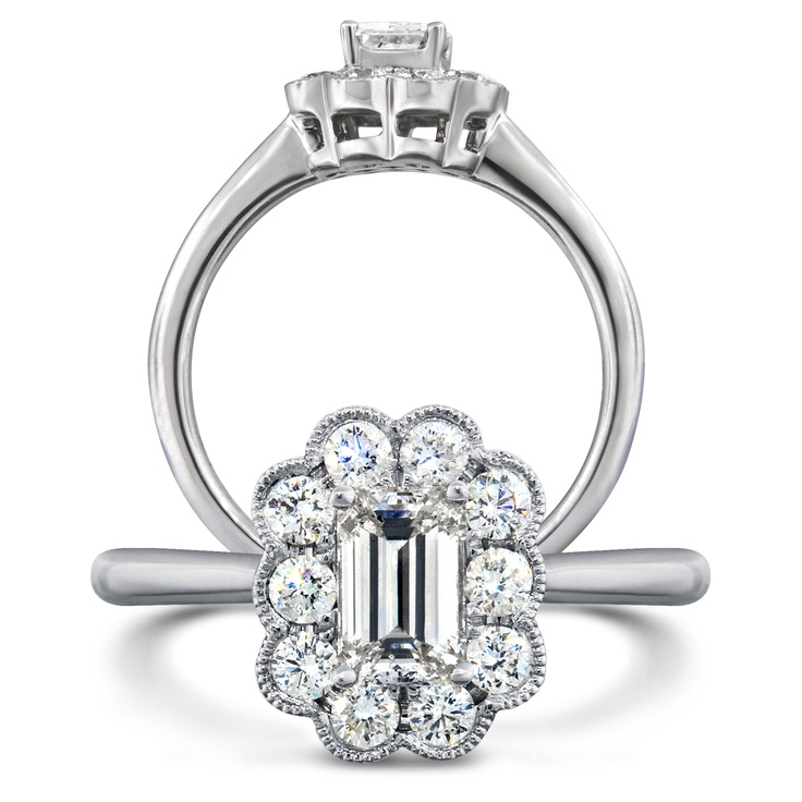 Stunning 18k white gold Emerald cut diamond cluster engagement ring