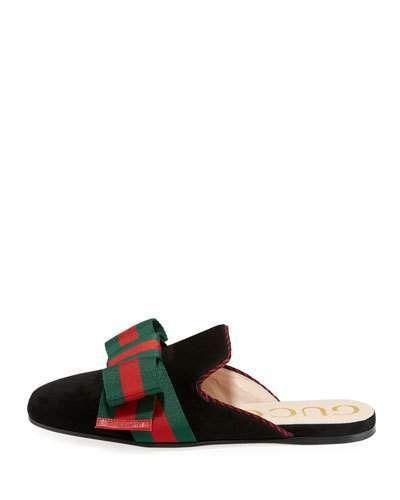 5c5a9c890 Gucci Suede Web Bow Flat Slide Mule #gucci #ShopStyle #MyShopStyle click  link for more information