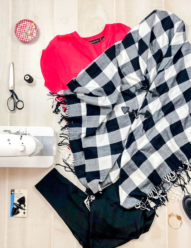 Diy cozy poncho wrap that you can sew from fabric or a