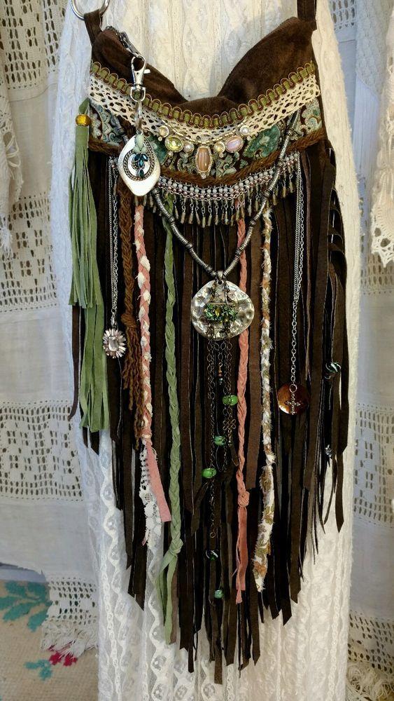 Handmade Brown Suede Leather Fringe Bag Ibiza Festival Hippie Boho Purse tmyers…