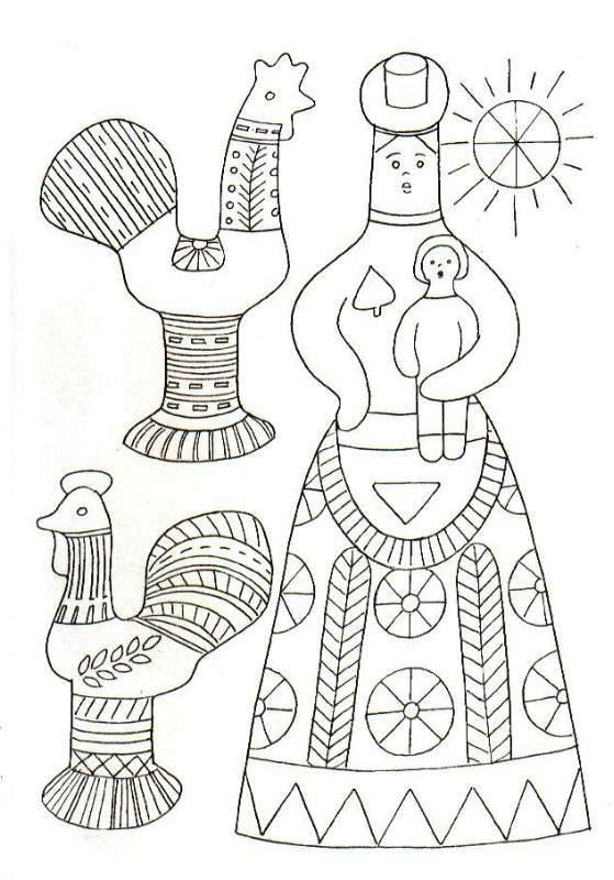 Раскраски филимоновская роспись для детей распечатать шаблоны