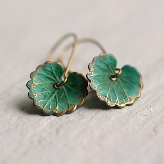 Green Leaf Earrings … Boho Turquoise Lily Pad Long Earrings, LEAF EARRINGS