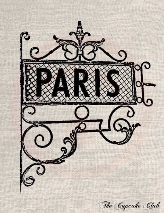 Clip Art Designs Transfer Digital File Vintage Download DIY Shabby Chic Paris France Sign Iron Black