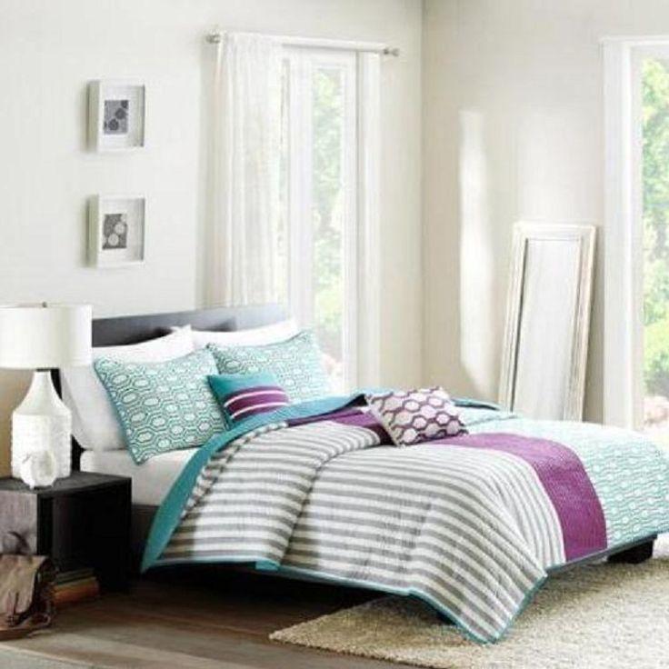Reversible Moder Purple Teal Full Queen Stripe 5 Piece Full Bedding Coverlet Set #Vivas #Modern