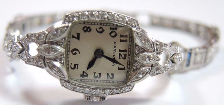Antique Women's Hamilton Diamond Watch Platinum 17 Jewels Art Deco Vintage Fine #Hamilton