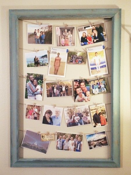 DIY visual prayer list / photo frame made with upcycled frame, twine, mini-clothespins #wfmw #wearethatfamily