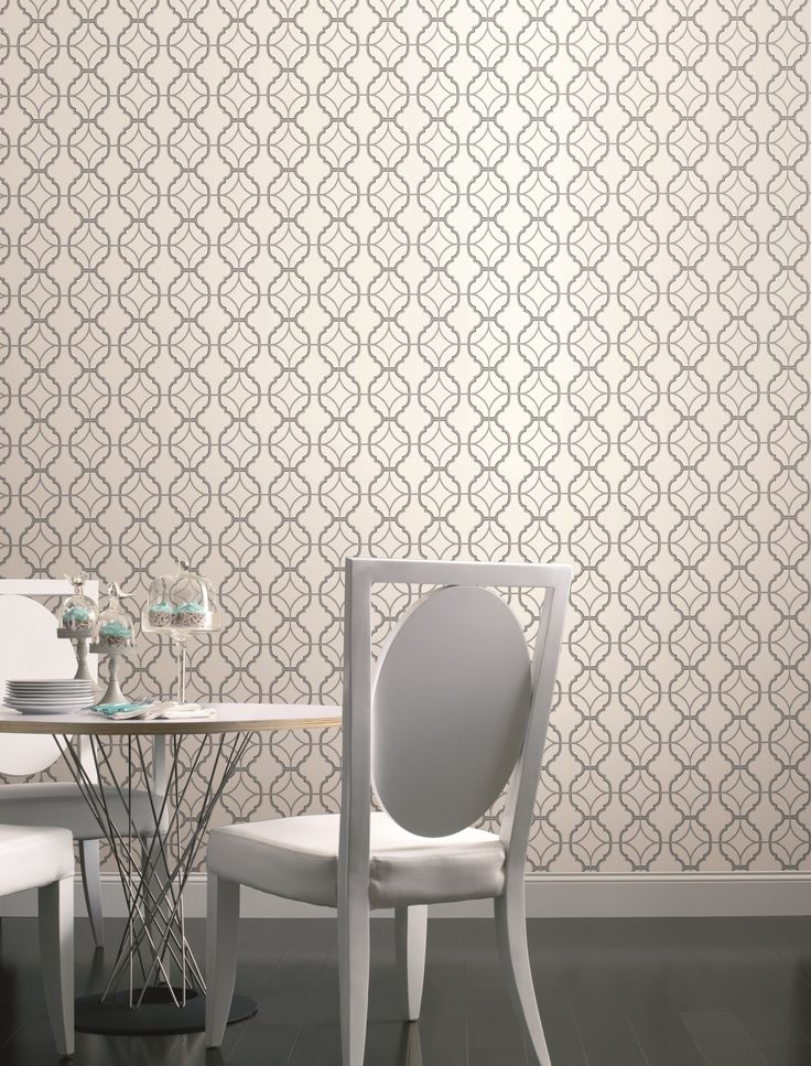 Trellis wallpaper design in grey on a cream background, from the Watercolours collection by Carey Lind Designs, WT4621 by York Wallcoverings. Available through Guthrie Bowron stores in New Zealand.