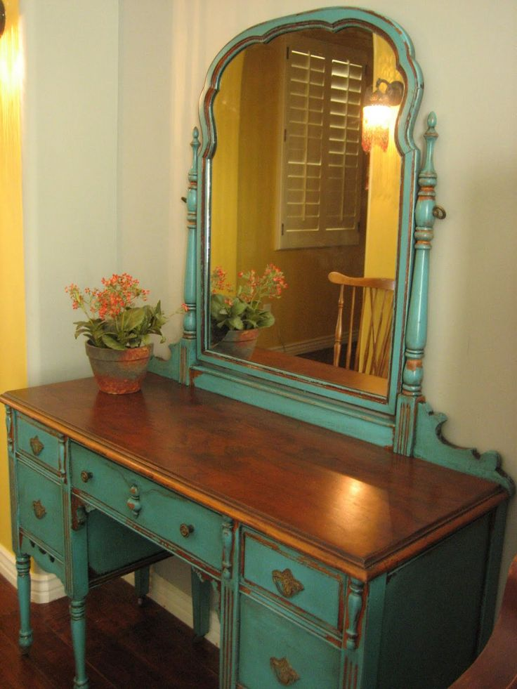 SOLD ~ Pretty antique vanity with mirror painted in the ever so popular,  striking turquoise teal. Chippy distressed finish with a glaze. - Best 25+ Antique Makeup Vanities Ideas On Pinterest Antique