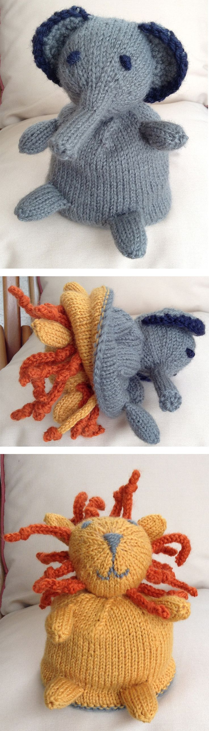 368 best animal knitting patterns images on pinterest knit knitting pattern for elephant lion topsy turvy flip toy this elephant to lion is bankloansurffo Image collections