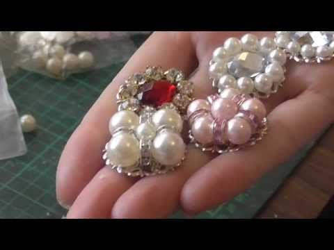 Flower center tutorial EASY PEASY- flatback pearls and crystals - YouTube
