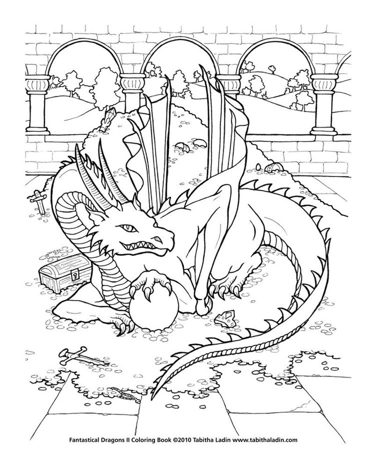a page from my coloring book fantastical dragons ii hand drawn with ink on paper treasure dragon coloring page