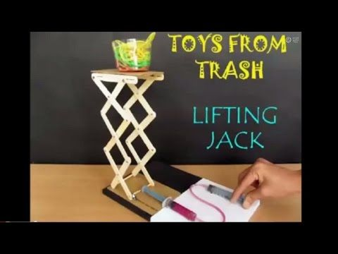 Get a feel for hydraulic jack. Using two new plastic syringes (minus the needles) and a few ice-cream sticks you can make a Jack to lift a load. The syringes...