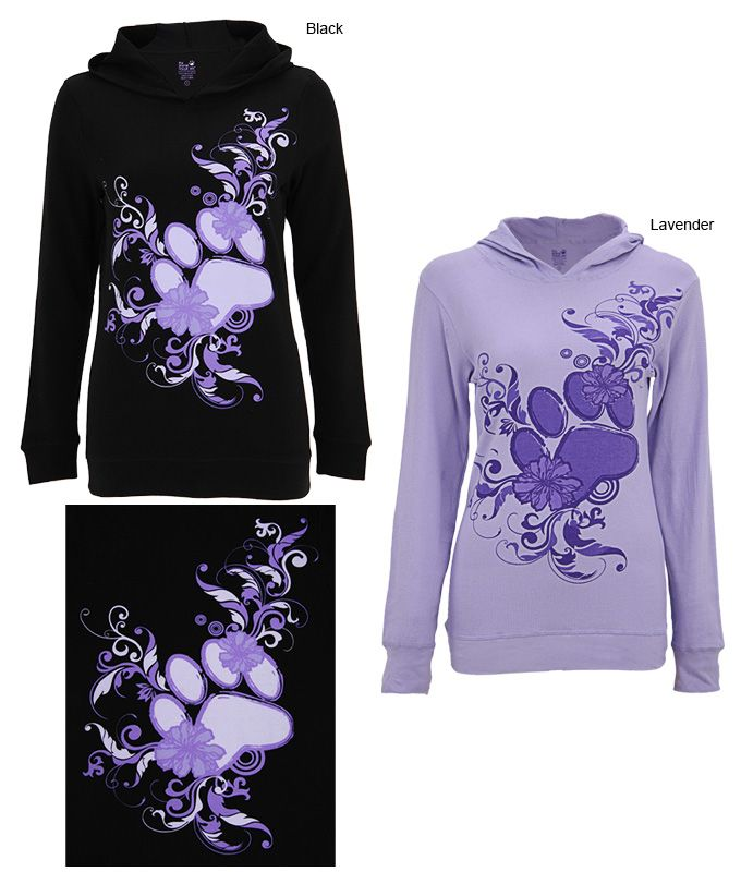 Purple Paw Lightweight Thermal Hoodie at The Animal Rescue Site