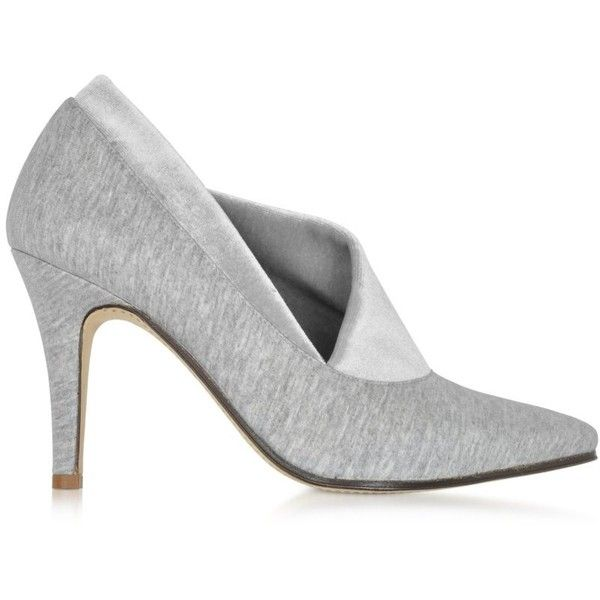 Zoe Lee Shoes Noble Grey Cotton & Velvet Pump ($540) ❤ liked on Polyvore featuring shoes, pumps, leather sole shoes, stretch shoes, cotton shoes, grey shoes and gray high heel shoes