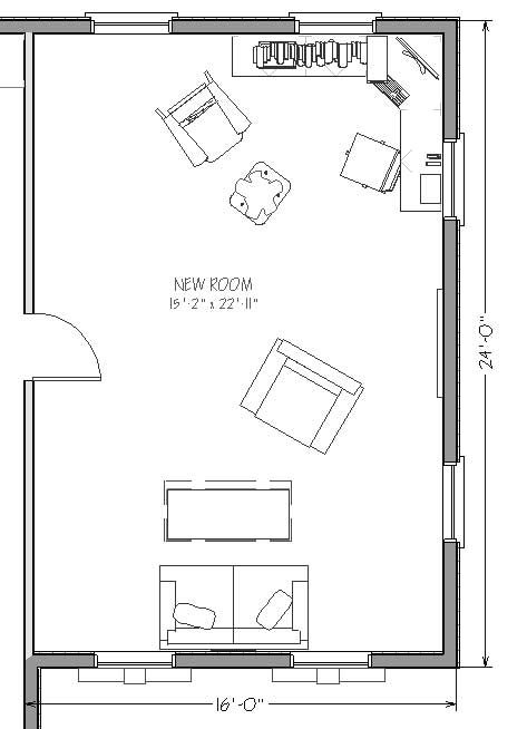 One room home addition plans getting ready to convert for Living room addition floor plans