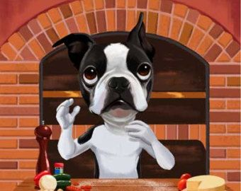 Boston Terrier with a Red Balloon by rubenacker on Etsy