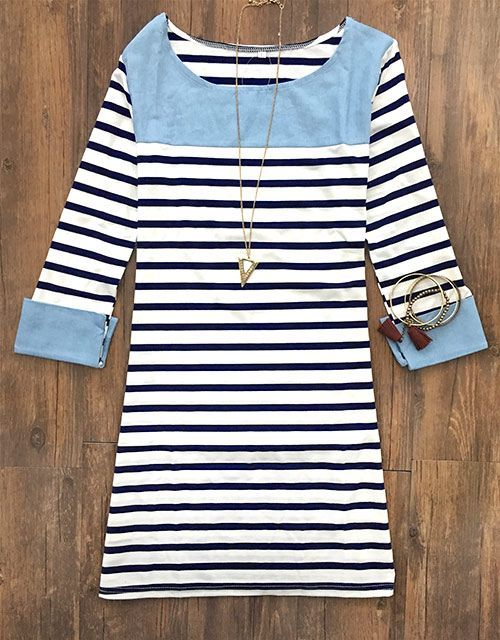 Get this-$18.99 with free shipping&easy return! Shine like a diamond with this casual stripe dress! This night gonna be gorgeous with Cupshe.com!