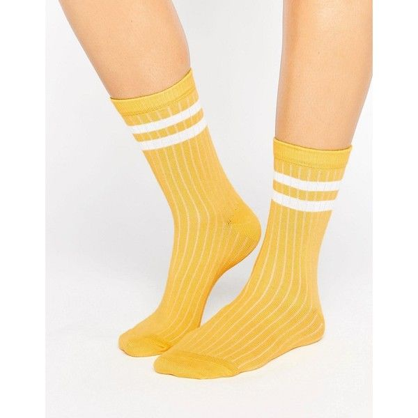 ASOS Stripe Ribbed Ankle Socks (€4,35) ❤ liked on Polyvore featuring intimates, hosiery, socks, yellow, ankle high hosiery, asos socks, stripe socks, yellow socks and ankle high socks