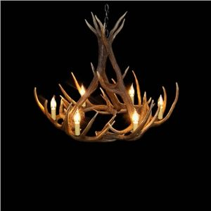 Rustic Style Cascade Chandelier Artistic Antler Chandelier Antler Lighting  With 6 Lights Antler Color Dining Room