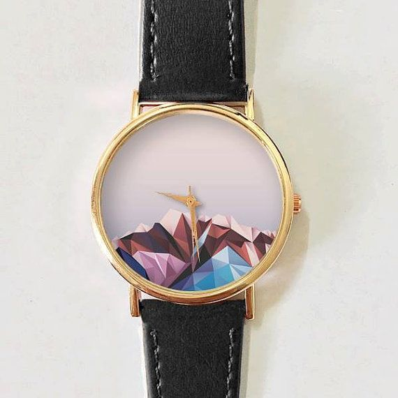 Geometric Mountain Watch Men's Watch Women Watches Leather Watch Vintage Style Unique Jewelry Handmade Rose Gold Boyfriend Watch Gift Spring