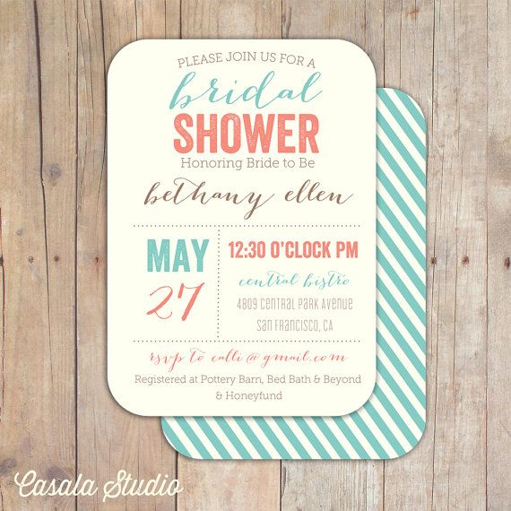 Vintage Boutique Bridal Shower Invitation Baby Shower Invite Coral and Turquoise Printable OR Printed Card. $16.00, via Etsy.