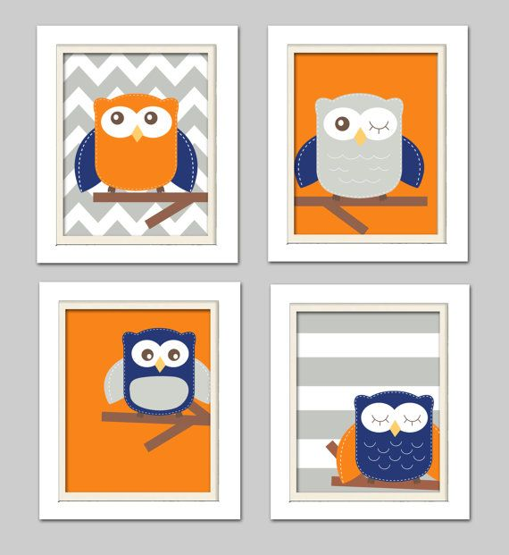 Orange and gray nursery Nursery Owl Art Orange Navy by ChicWallArt