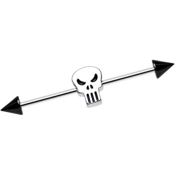 Stainless Steel Licensed The Punisher Logo Industrial Barbell | Body Candy Body Jewelry
