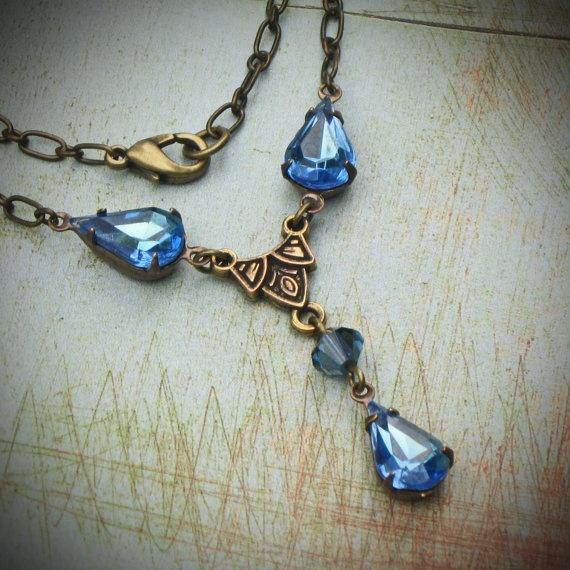 Vintage Rhinestone Necklace, Bride, Wedding, Antiqued Brass, Peacock, Swarovski, Jewelry by rewelliott on Etsy #brigteam @Rew Elliott