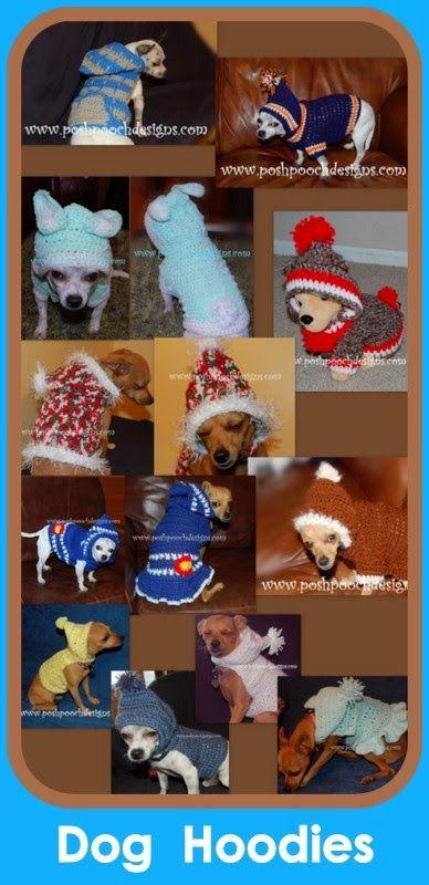 Posh Pooch Designs Dog Clothes: Dog Hoodies - Crochet patterns or Custom Made