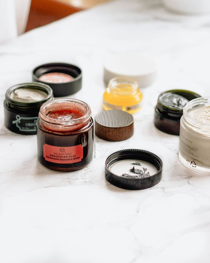 Ideal masks! The body shop acai mask, RE:P Bio Fresh Mask With Real Calming Herb, Farmacy Honey Potion Renewing Antioxidant Hydration Mask & Caolion Premium Hot & Cool Pore Pack Duo