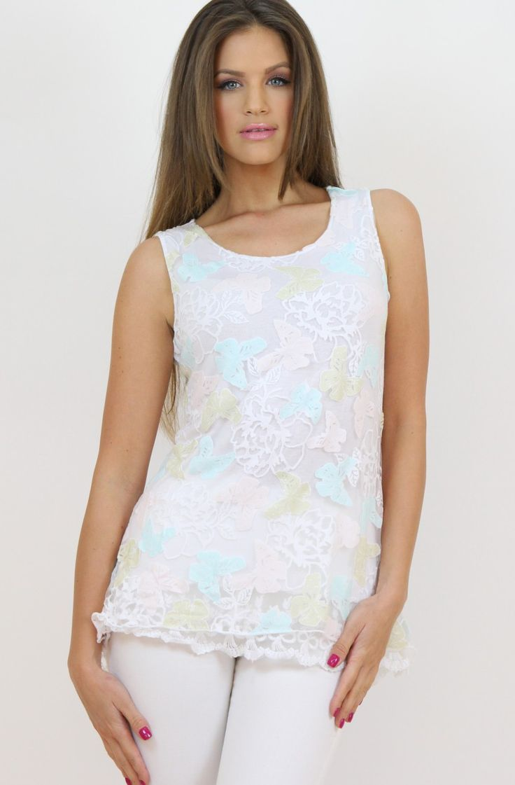 Butterfly White Sleeveless Top- www.famevogue.ro - for a romantic and girly look.  #tops #style #trends #fashion #casual #moda