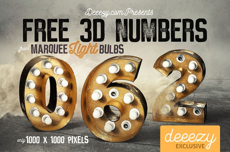 Golden Marquee Light Bulbs Numbers | Deeezy - Freebies with Extended License