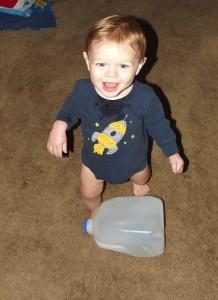 Homemade Kicking Jug for gross motor development  from www.monkeytoesmon...
