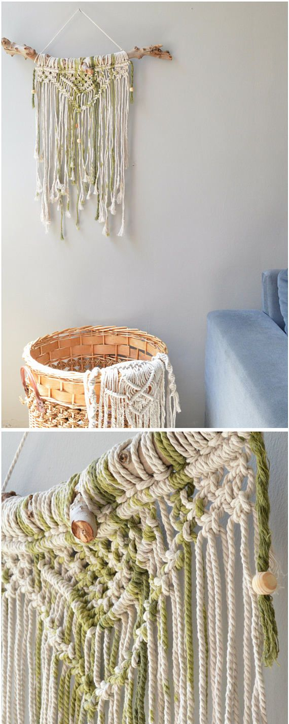 Gorgeous macrame wall hanging to lend a bohemian feel to your bedroom, living Room or workspace, this macrame will add instantly warmth and texture to any room of your house! made with 100 % natural cotton rope  ^^^^^^^^^^^^^^^^  CUSTOM ORDERS: Want a smaller or larger size? Or a different style or color that represents you or a loved one? Just send me a convo.  ^^^^^^^^^^^^^^^^^  Please contact me for any questions or suggestions.  check out more wall hanging: http://etsy.me/2...