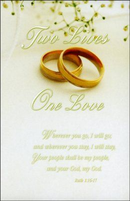 Two Lives, One Love (Ruth 1:16-17) Wedding Bulletins, 100  -