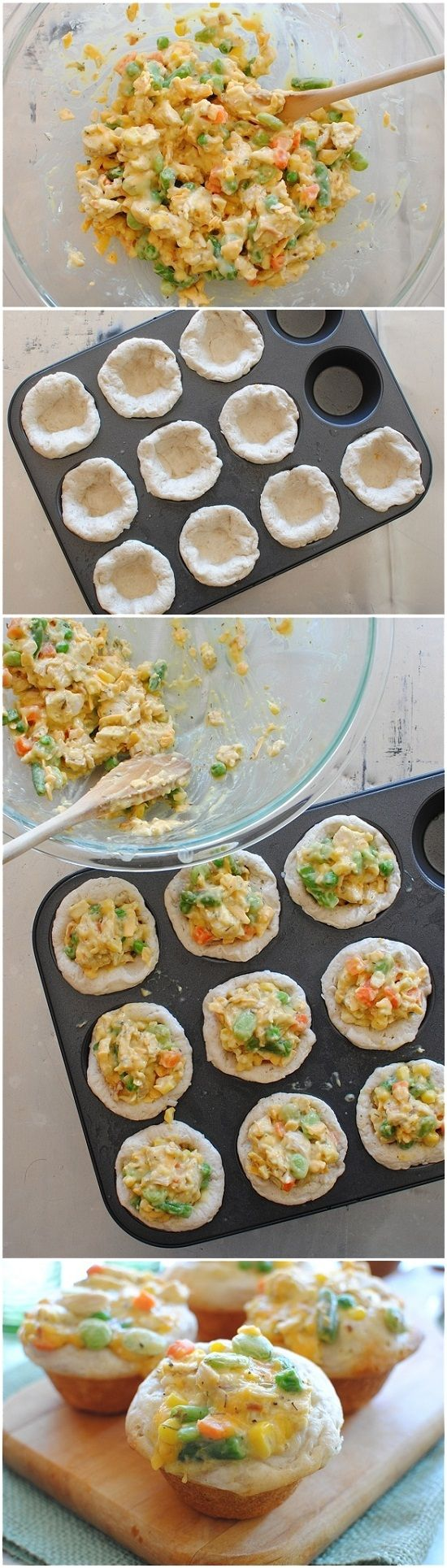 Chicken Pot Pie Cupcakes I would like to use crescent rolls or the flakey biscuits(: mmmmmm